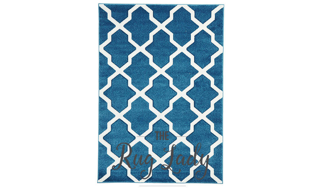 Blue White Moroccan Trellis Rug – The Rug Lady