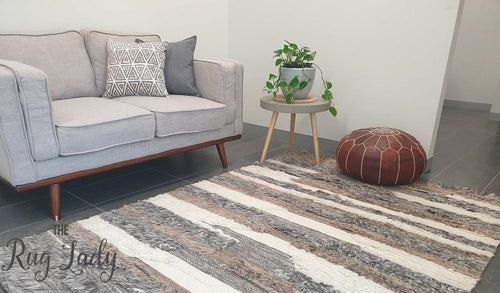 Boho Grey Off White Bohemian Wool Rug