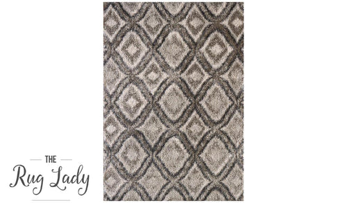 Caprice Grey Abstract Diamonds Art-Silk Rug