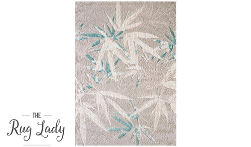 Caprice Blue Botanical Art-Silk Rug