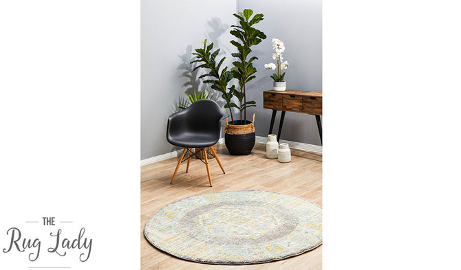 Celine Grey Medallion Distressed Round Rug