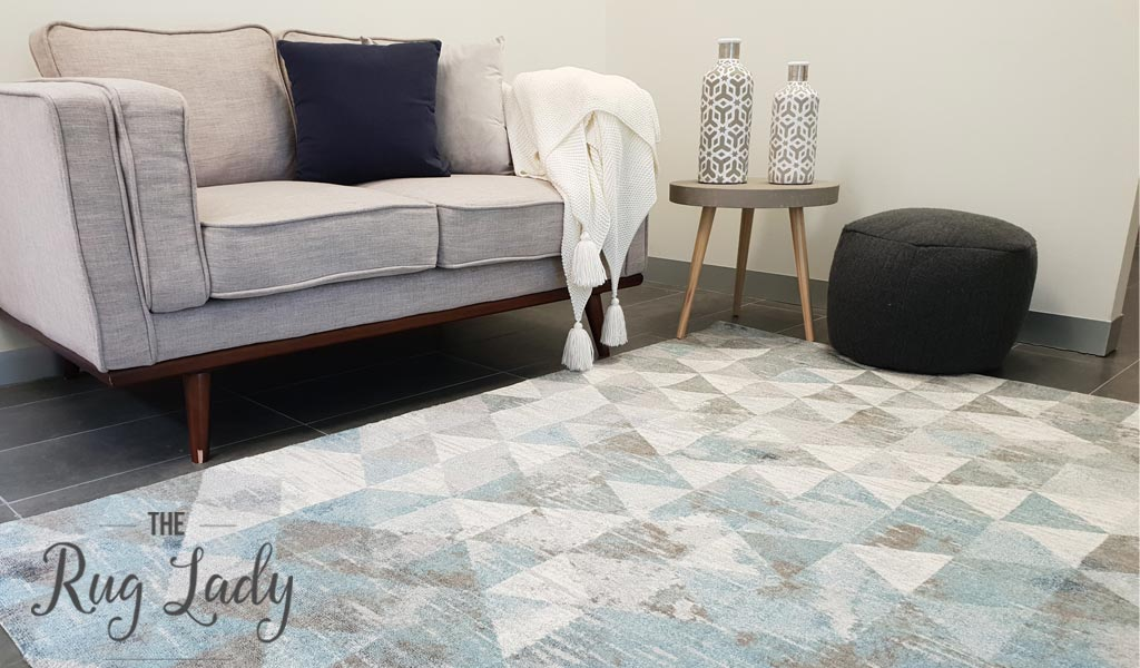 Metro Blue Geometric Diamond Rug