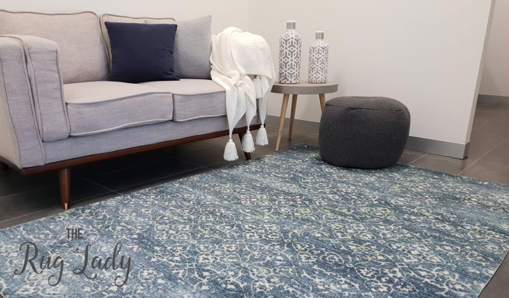 Metro Blue Flower Pattern Rug