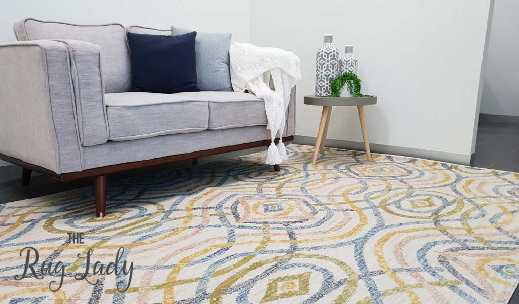 Conceptual Cream Imperial Trellis Multicoloured Modern Rug