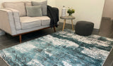 Camilla Blue Abstract Winter Fog Rug