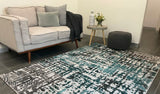 Camilla Grey Blue Abstract Stripe Rug
