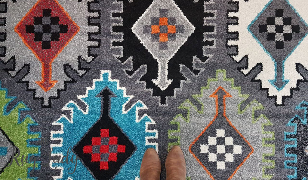 Festival Grey Multicoloured Ethnic Rug