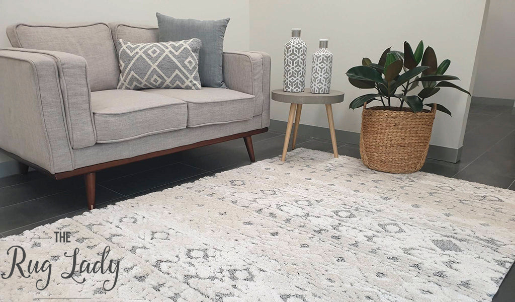 Chloe Light Grey White Bohemian Textured Rug