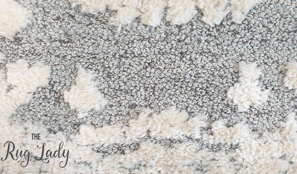 Chloe White Grey Medallion Textured Rug