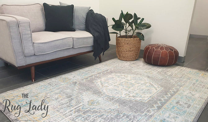 Celine Grey Medallion Distressed Rug