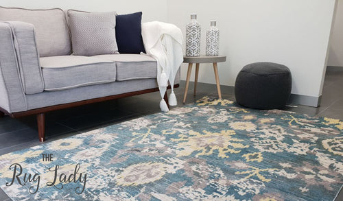Metro Yellow Blue Grey Ikat Pattern Rug