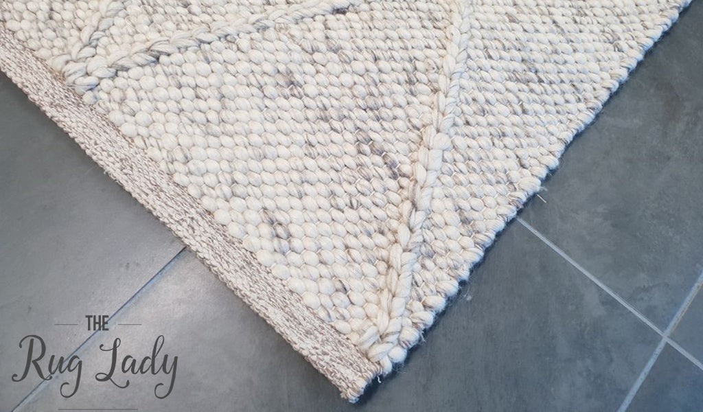 Darcy Diamond Light Grey Felted Wool Rug
