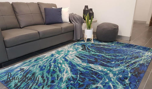 Conceptual Caribbean Navy Blue Waves Abstract Rug