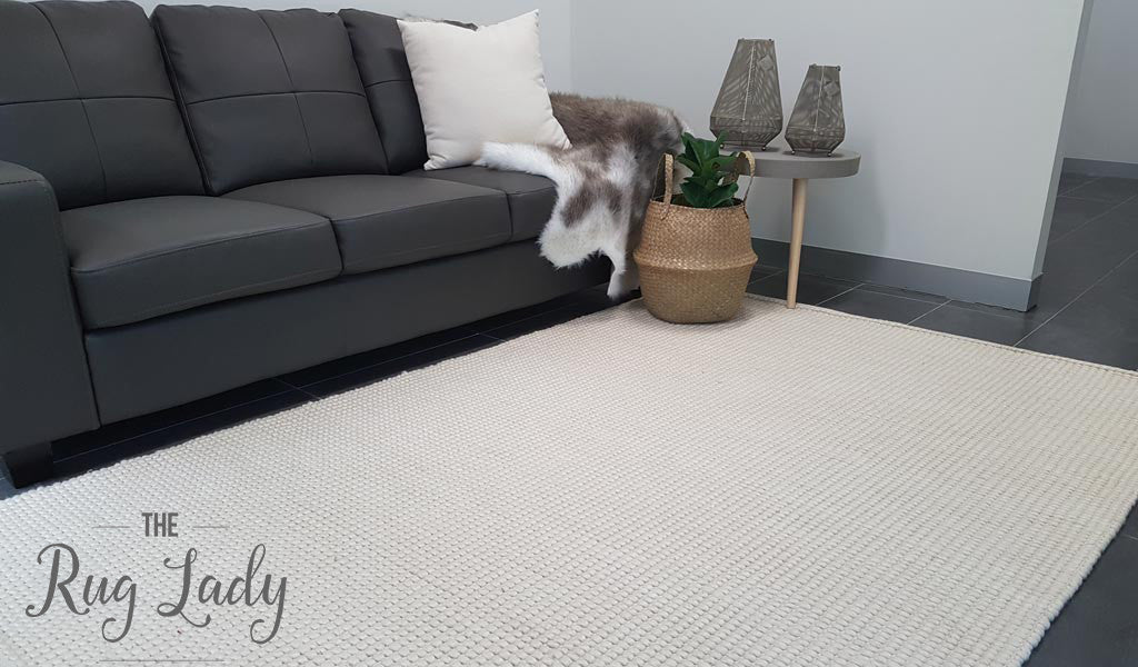 Darcy Natural Off-White Felted Wool Rug