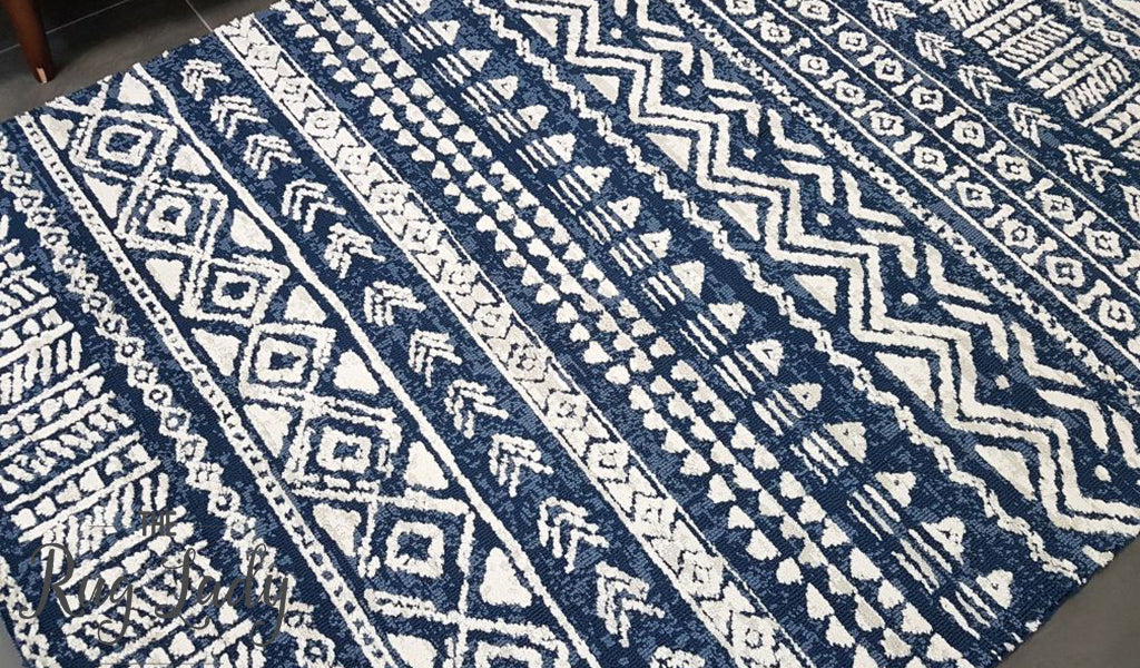 Brand-new Deluxe Boho Blue White Tribal Rug – The Rug Lady PZ03