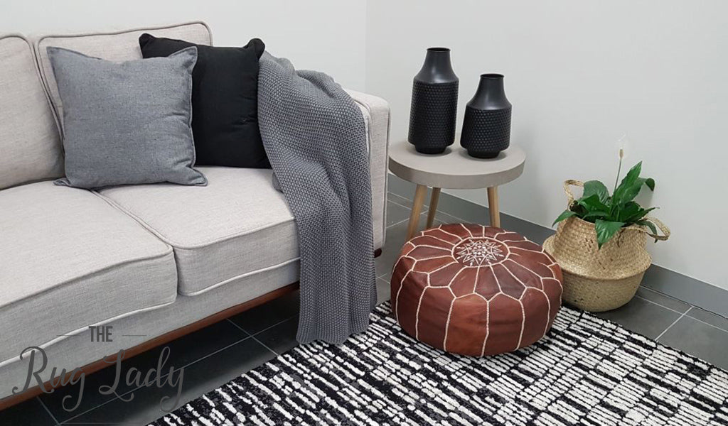 Deluxe Boho Charcoal White Abstract Rug