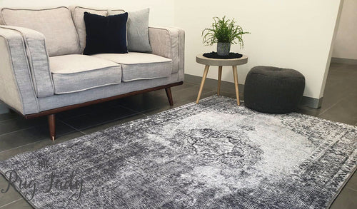 Spirit Charcoal Grey Faded Wash Medallion Transitional Rug