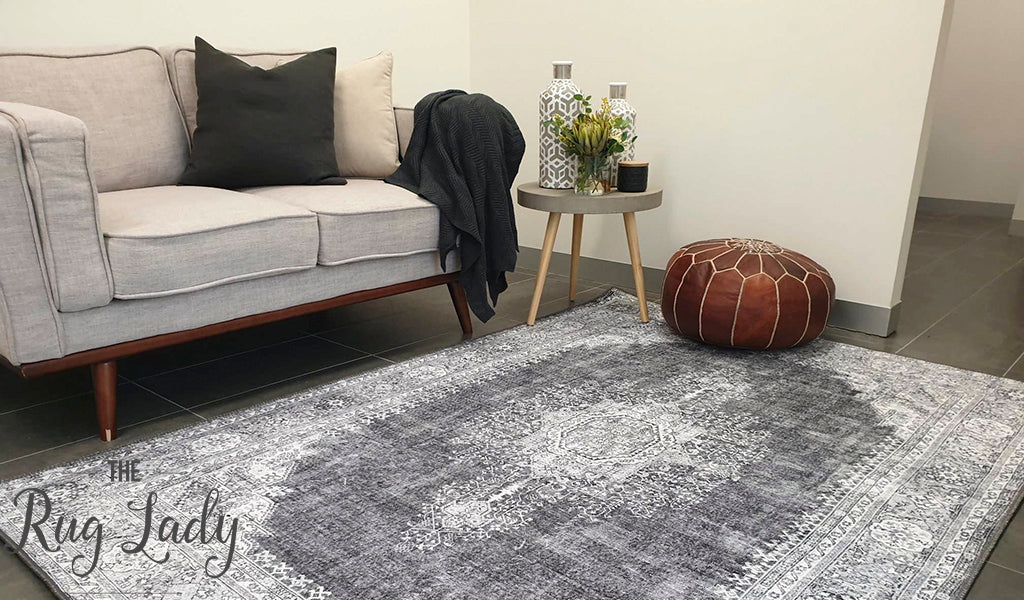 Spirit Charcoal Grey Medallion Transitional Rug