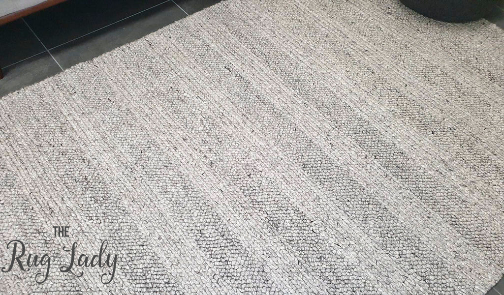 Queen Silver Hand Loomed Wool Rug