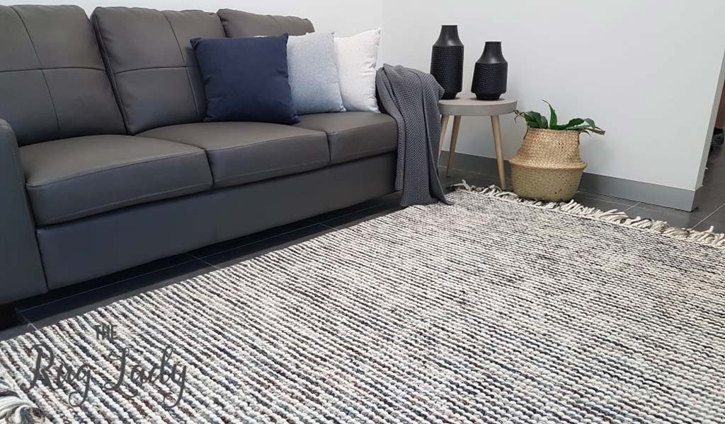 Missy Brown Blue Loop Pile Wool Rug