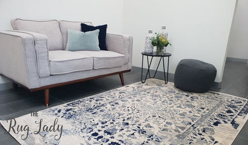 Ziah Navy Blue Faded Floral Transitional Rug