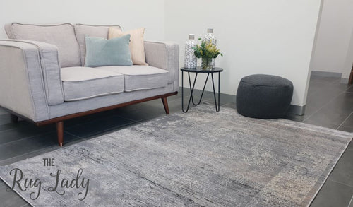Ziah Grey Stonewashed Oriental Transitional Rug