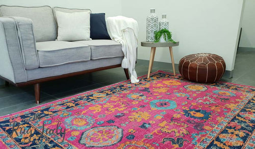 Everlast Pink Multicoloured Stonewashed Traditional Rug