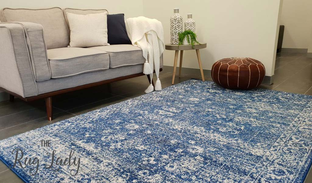 Awaken Navy Blue Overdyed Power Loomed Rug