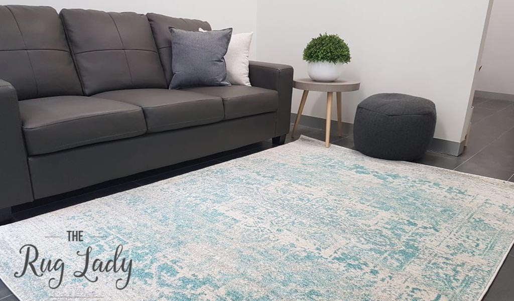 Awaken White Blue Medallion Rug