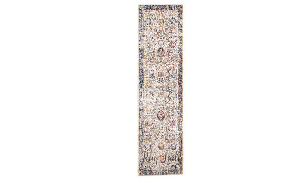 Awaken Ivory Orange Power Loomed Hallway Runner