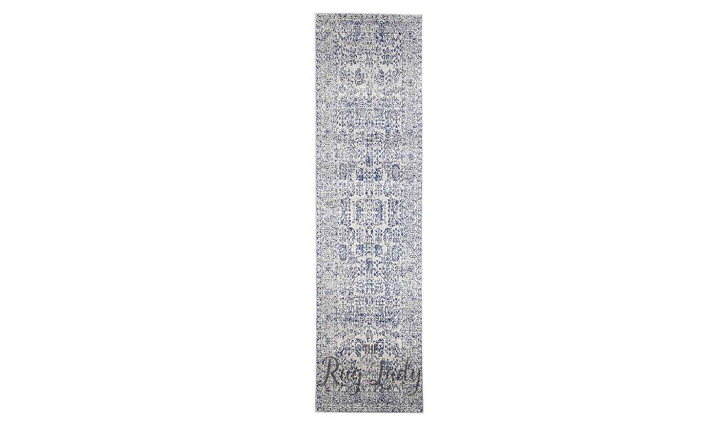 Awaken Blue White Power Loomed Hallway Runner