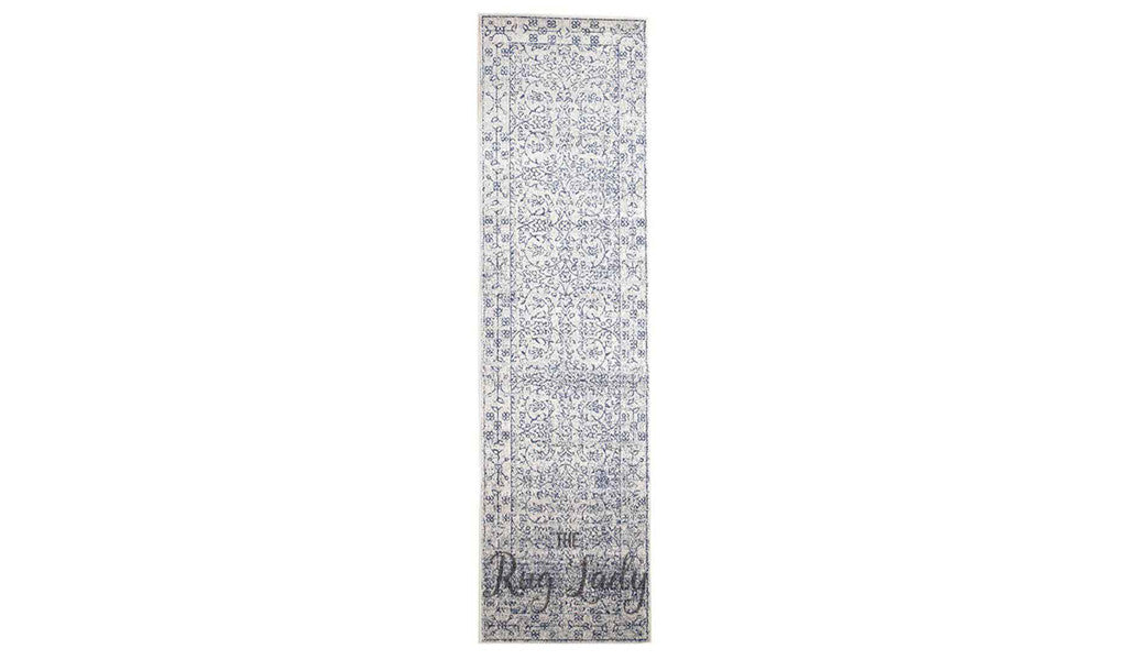 Awaken White Navy Power Loomed Hallway Runner