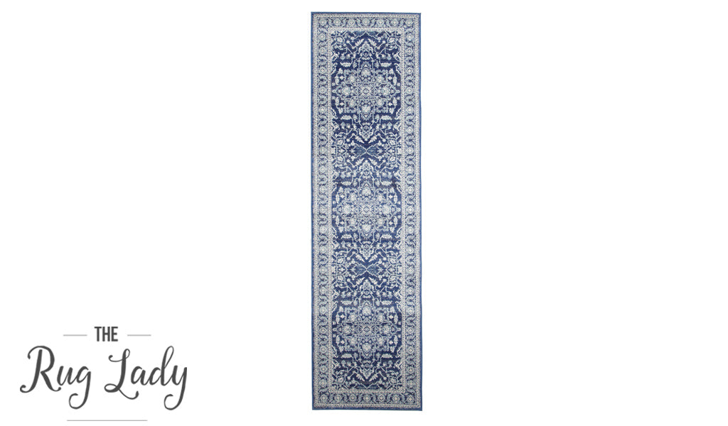 Awaken Navy Blue Medallion Transitional Hallway Runner
