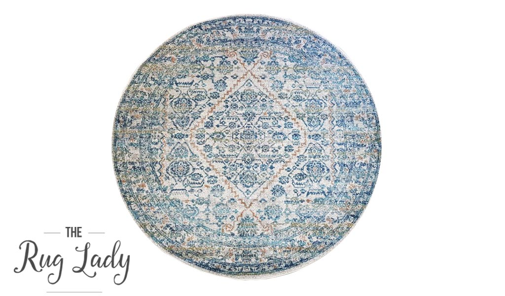 Awaken Silver Blue Power Loomed Round Rug