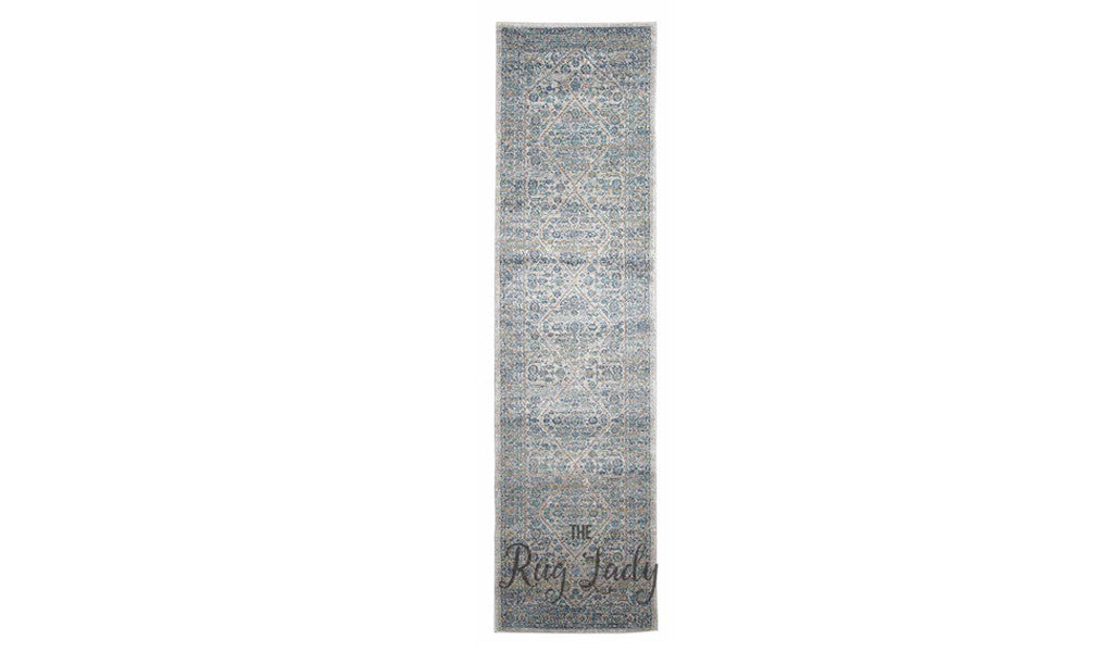 Awaken Silver Blue Diamond Hallway Runner