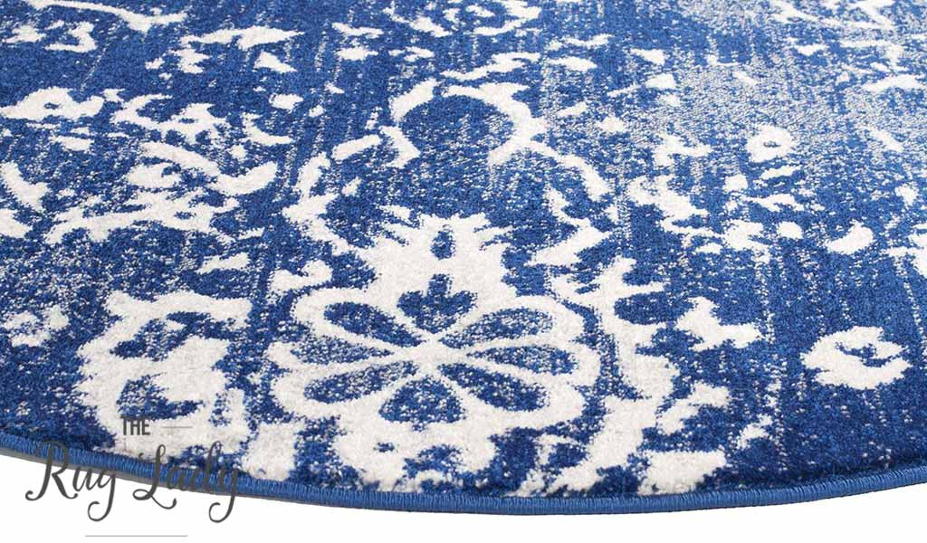 Awaken Navy Vintage Floral Power Loomed Round Rug