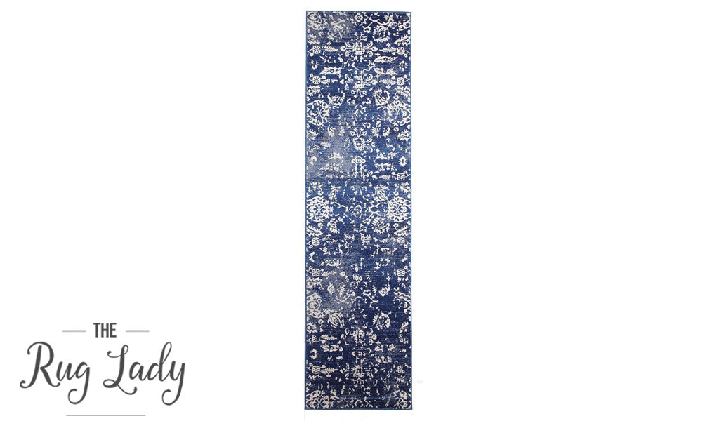 Awaken Navy Vintage Floral Power Loomed Hallway Runner