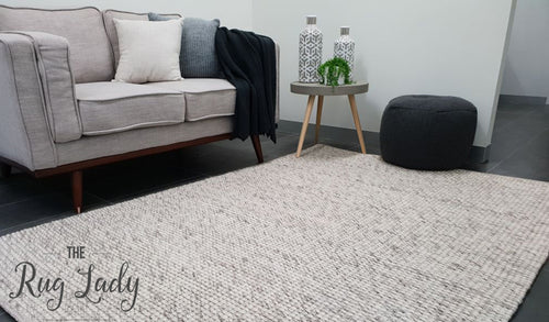 Essence Scandinavian Light Grey Felted Wool Rug