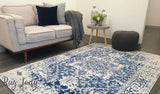 Awaken Navy White Medallion Rug