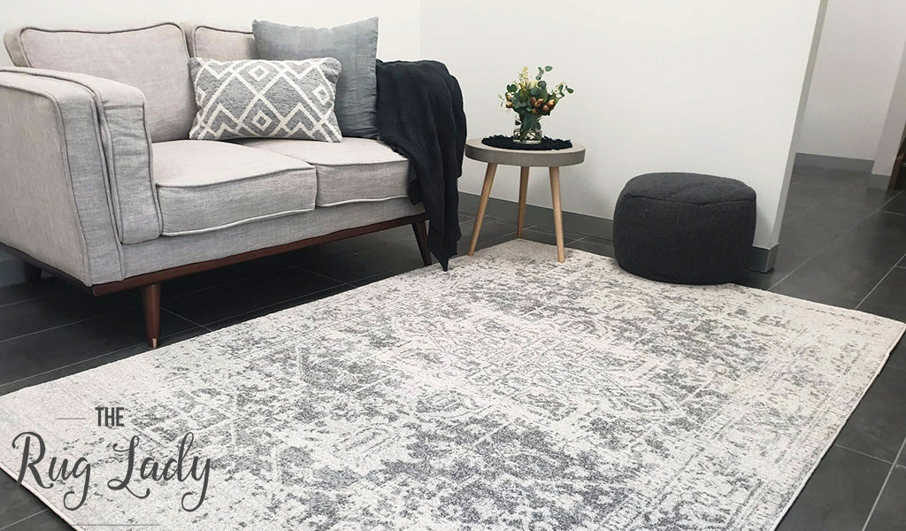 Awaken White Silver Medallion Rug
