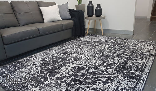 Awaken Charcoal Power Loomed Rug
