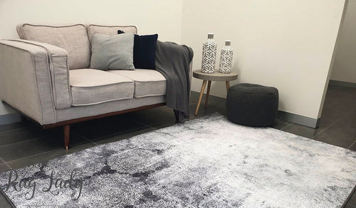 Spirit Grey Flower Distressed Rug