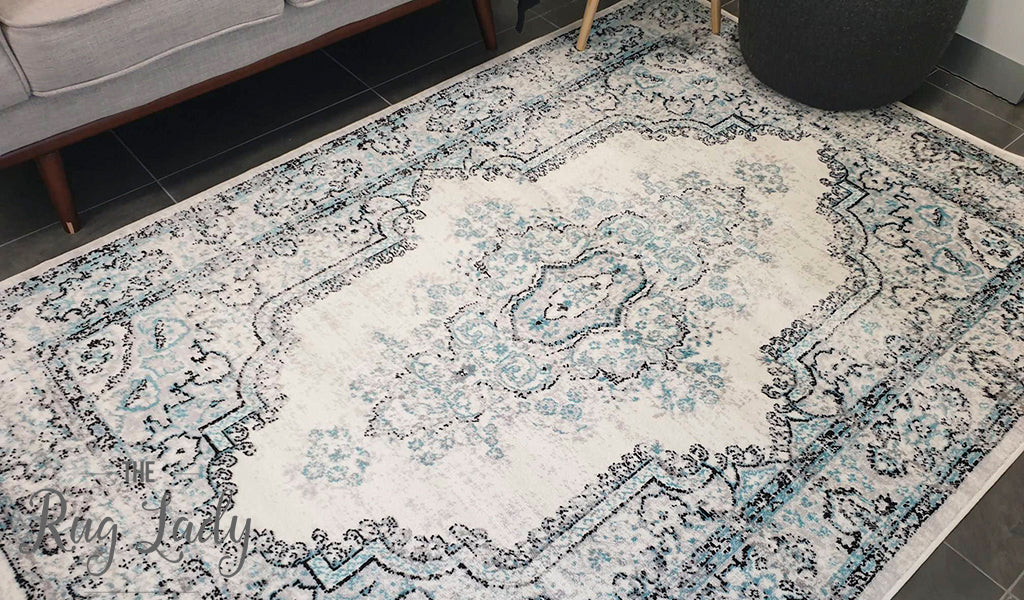 Freedom Grey Blue Medallion Pattern Rug