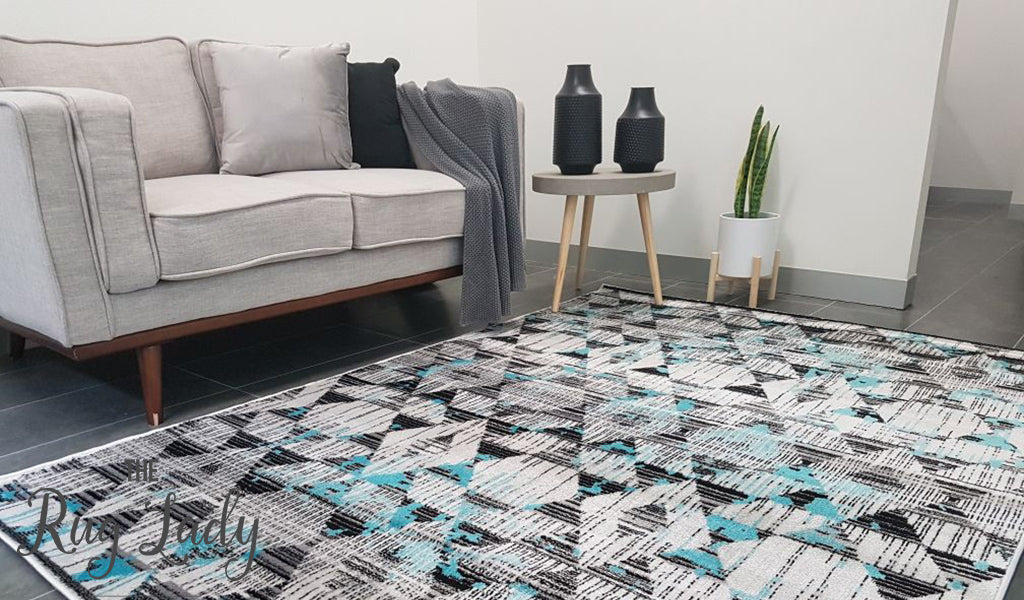Freedom Grey Blue Geometric Diamond Pattern Rug