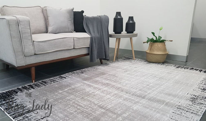 Freedom Grey Monochrome Stripe Lines Pattern Rug