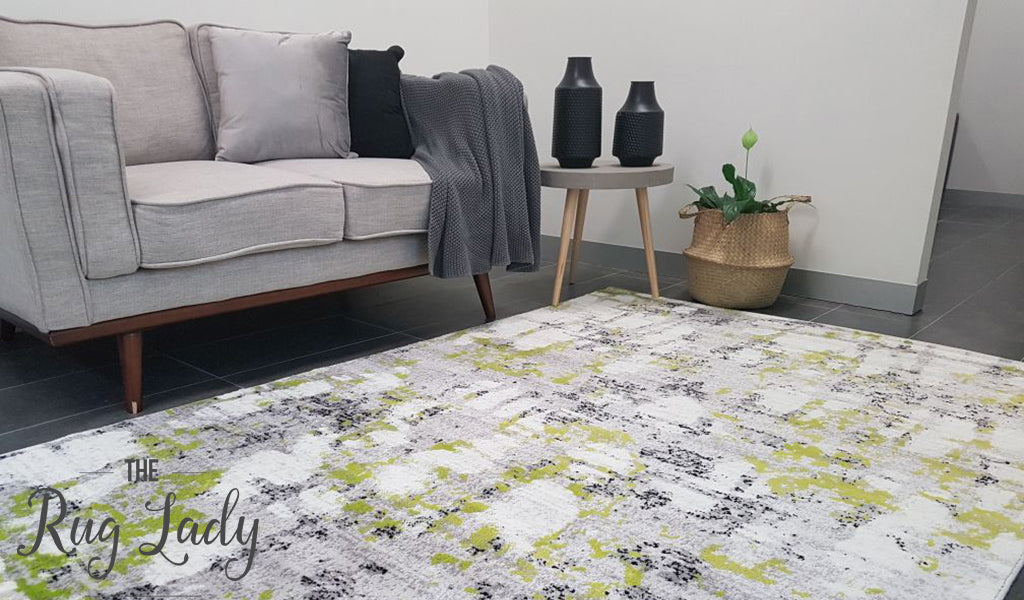 Freedom Grey Yellow Green Abstract Pattern Rug