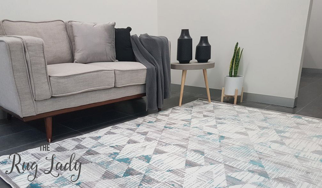 Freedom Light Grey Blue Geometric Diamond Pattern Rug