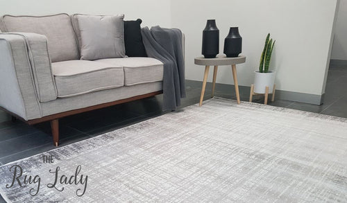 Freedom Light Grey Monochrome Stripe Lines Pattern Rug