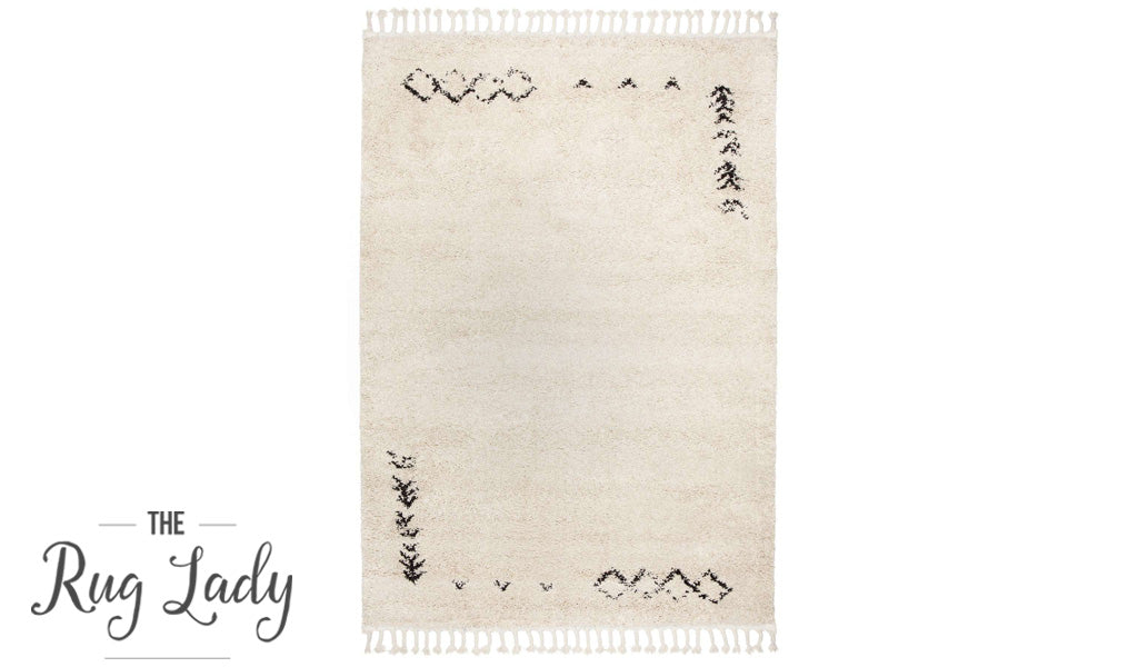 Gypsy Gabba Natural White Tribal Power Loomed Rug