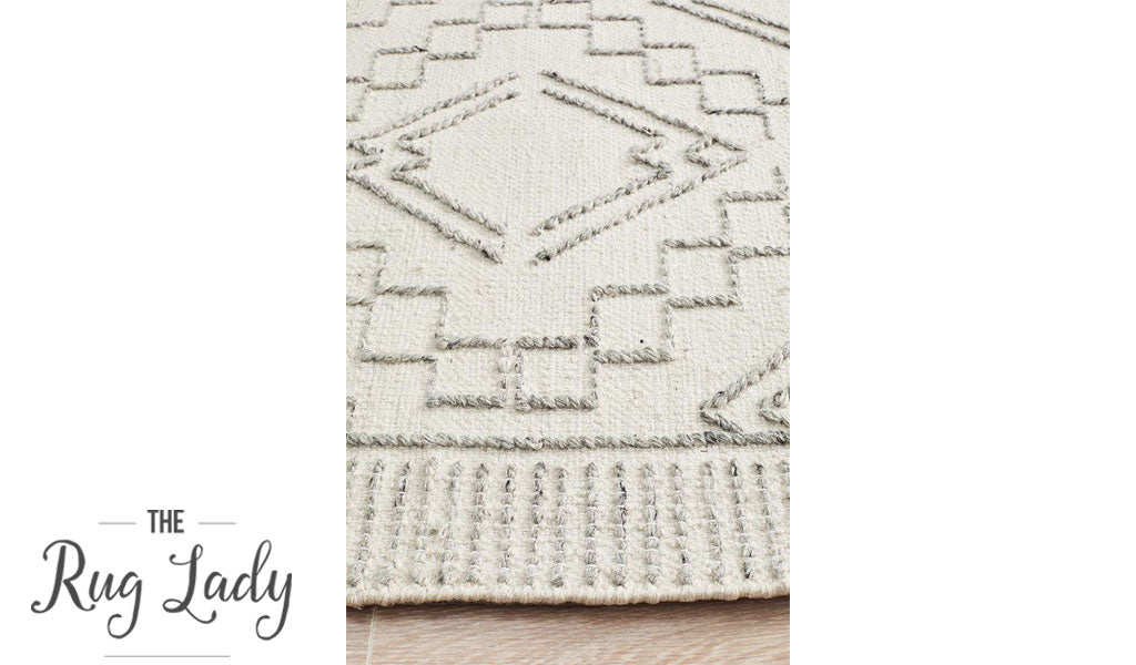 Harlow Ivory Tribal Felted Wool Rug